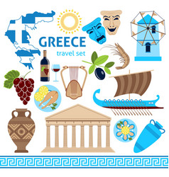 Greece symbols touristic set flat composition vector
