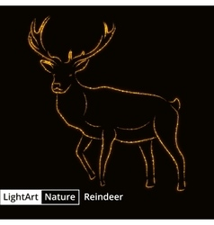 Reindeer silhouette of lights on black background vector