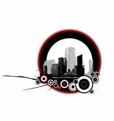 City with circles vector