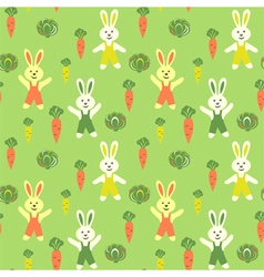 Bunnies cartoon with carrots and cabbage vector
