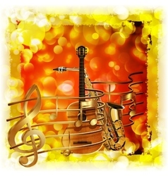 Treble clef and a saxophone guitar bright vector