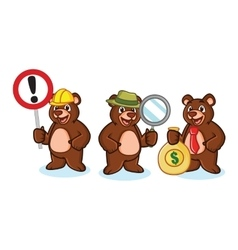 Bear mascot with money vector