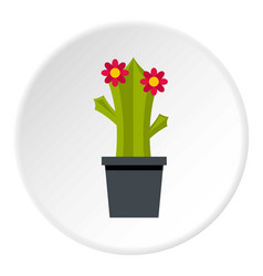Cactus with flower icon circle vector