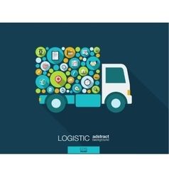 Color circles flat icons in a truck shape for vector image vector image