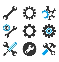 Configuration tools flat bicolor icons vector