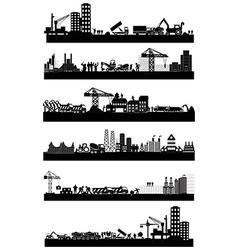 Construction site skyline set vector image vector image