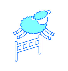 Cute lamb jumping the fence vector