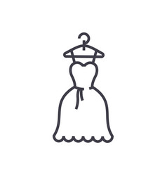 dress wedding ball gown line icon sign vector image vector image