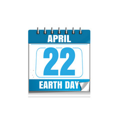 earth day date in the calendar 22 april vector image vector image