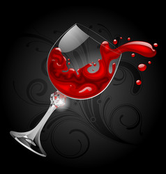 falling transparent glass with red wine on black vector image vector image