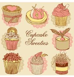 Fancy cupcakes vector