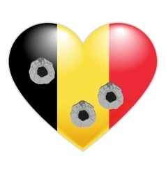 Flag of belgium belgian heart pierced by bullets vector