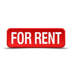 For rent red 3d square button isolated on white vector