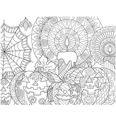 Halloween pumpkin coloring vector