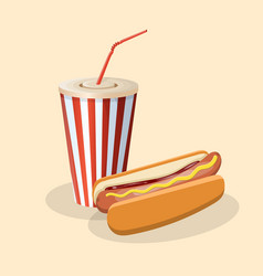 Hot dog with soda in a paper cup vector