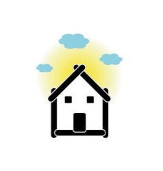 House with sticks and cloud vector
