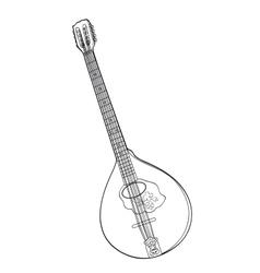 Irish bouzouki in hand drawn tehnique vector image