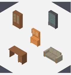 Isometric design set of sideboard table cabinet vector