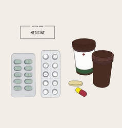 Medical bottles with pills capsules sketch vector