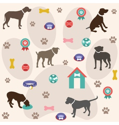 Seamless pattern dog icons vector image vector image