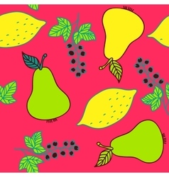 Seamless pattern of currant pear and lemons vector image vector image