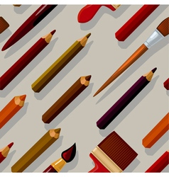Seamless pattern with pencils and brushes vector