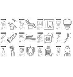 Stomatology line icon set vector image