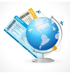 tickets and globe travel concept vector image vector image
