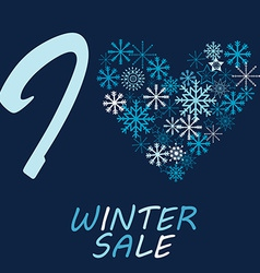 With snow flake and message i love winter sale vector