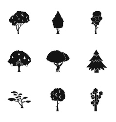 Woody plants icons set simple style vector