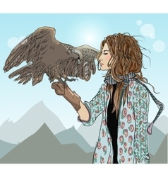 Young girl with bird of prey vector