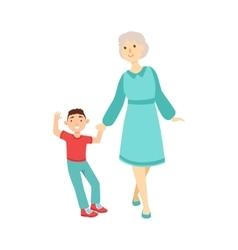 Grandmother and grandson walking holding hands vector
