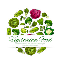 vegetarian food poster with green vegetables vector image