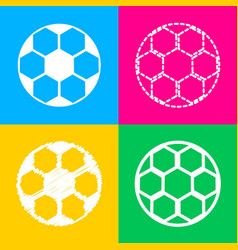 soccer ball sign four styles of icon on four vector image