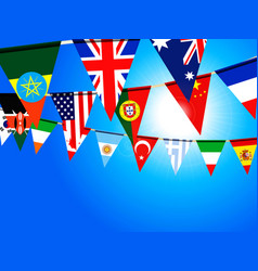 World bunting flags over sunny sky vector