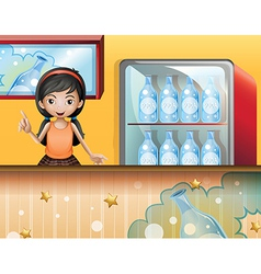 A young lady selling soda vector image