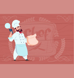 Chef cook holding packet with food and mobile vector