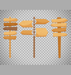 Wooden way direction signs vector