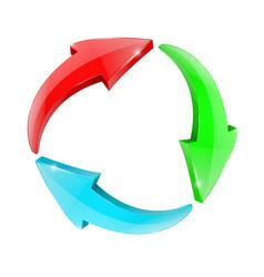 arrows in circular motion set of colored arrow vector image