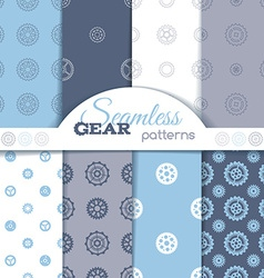 Set of seamless gear patterns vector