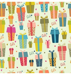 Bright Seamless gift boxes pattern Various gifts vector image