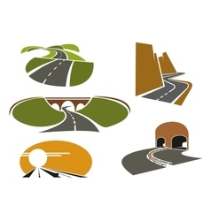 Speed roads freeways underpass and highways vector