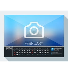 February 2016 stationery design print template vector