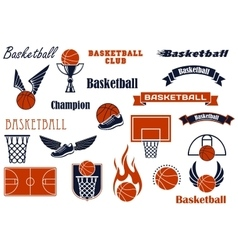 Basketball sport game and design elements vector