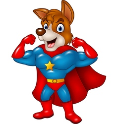 Cartoon superhero dog posing isolated vector image