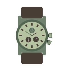 Military style watch with brown leather strap time vector