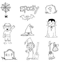Halloween flat doodle art vector