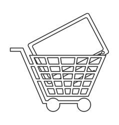 Shopping cart with computer monitor icon vector