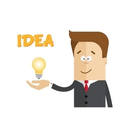 Businessman or manager with a lamp in his hand vector