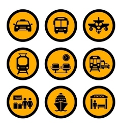 Social transport yellow icons vector